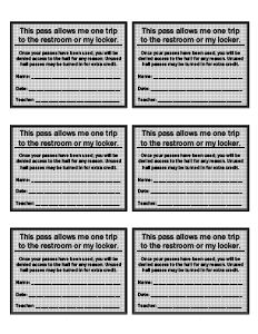 free hall passes for school teacher printables school hall