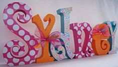 Custom Wood Letters Pottery Barn Paisley Pop Set by thepatternbag, $72.00. Letters for babies room.