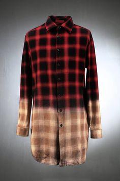 Check Long Gradation Flannel Shirt