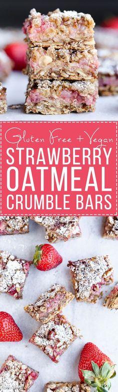 Strawberry Oatmeal Crumble Bars (Gluten Free + Vegan)