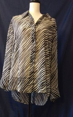 Lane Bryant Zebra Striped Polyester Button Down Shirt Plus Size 14/16 NWT #LaneBryant #ButtonDownShirt #Career