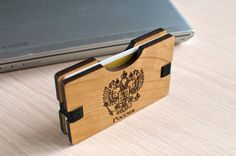 Handmade Wooden Wallet Credit Card Holder Oak by NoLogoDesigns