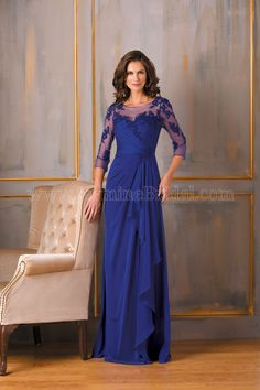 Jasmine Bridal Mother of the Bride/Groom Dress Jade Style J175020 in Cobalt Blue Purple. Feel positively radiant in this refined and elegant special occasion gown. This Tiffany chiffon gown is set apart from the rest with the beautiful ruching that runs from the bodice to the A-line skirt, and the beautiful lace detail on the boat neckline.