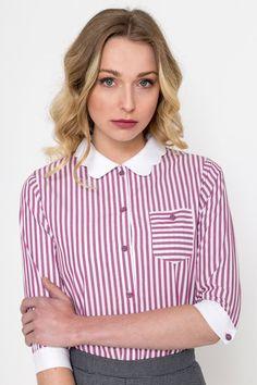 Items similar to Scallop Shirt/ Vintage Shirt/ Retro Shirt / Striped Shirt on Etsy Retro Shirts, Vintage Shirts, Vintage Outfits, Actresses, Elegant, Model, Cotton, How To Wear