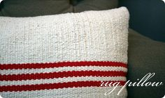 a tutorial on how to turn a $3.99 rug into a grain sack look-alike pillow.