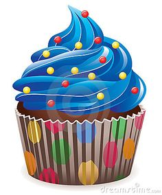 Illustration of blue cupcake with sprinkles
