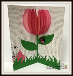 Tulip Popup Card with The Cutting Cafe Flying Butterfly Card, Butterfly Cards, Pop Up Cards, Art Lessons, I Card, Tulips, Art For Kids, Projects To Try, Paper Crafts