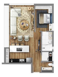 Neorama - Floor Plan - Smart/Lageado 167 - This one is perfect! Apartment Layout, Apartment Plans, Apartment Design, Layouts Casa, House Layouts, Tiny Spaces, Small Apartments, Small House Plans, House Floor Plans