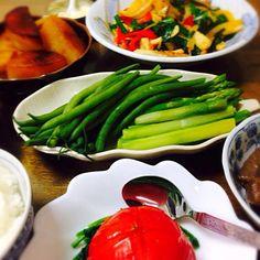 蒸しトマトは別途UP - 11件のもぐもぐ - 焦げ大根・ピーマンとニラガーリック炒め・茹でアスパラとインゲン・蒟蒻ピリ辛煮・蒸しトマト by herb39michi0