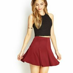 Burgundy Skater Shirt Burgundy / Wine / dark red colored, pleated skater skirt. Has a bit of a stretchy waist. I am the second owner but I've only worn it once, and it's in perfect condition. So cute! More pictures coming soon. Forever 21 Skirts Circle & Skater