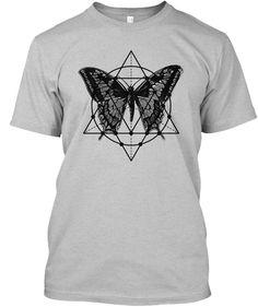 Retro Geometric Butterfly Boho Yoga   Light Heather Grey  T-Shirt Front