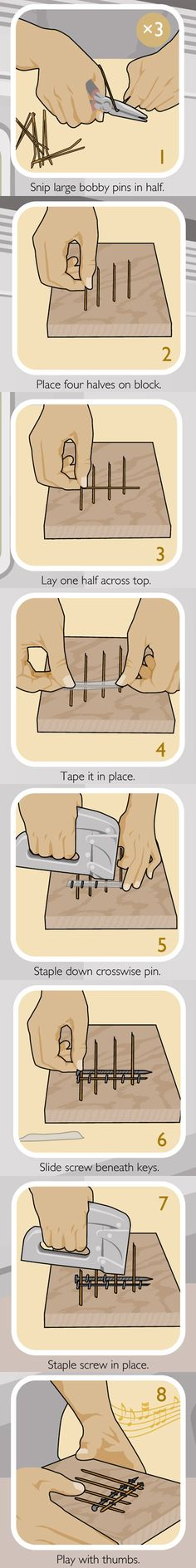 Construct a Thumb Piano. A wood block, bobby pins, staples and a screw are all you need to assemble a little wood block with pins that you press with your thumbs.