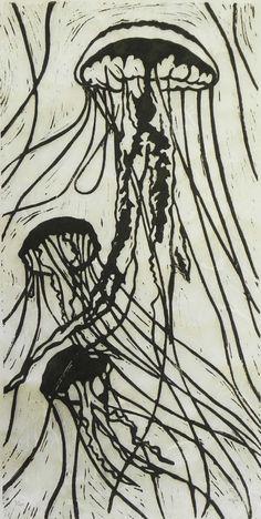 Jellyfish in Black and White  Original Linocut by TheGreyFoxStudio, $60.00