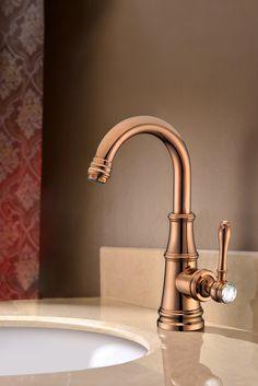 Misturador Monocomando Rose Gold (cobre) estilo clássico para banheiro (torneira clássica / torneira rose / torneira cobre)