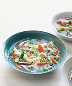One-pot recipe for Asian Dumpling Soup With Shiitakes.