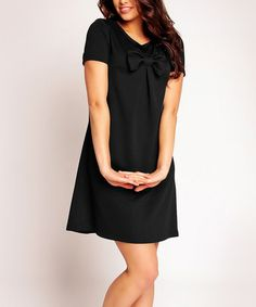 Loving this Black Bow A-Line Dress on #zulily! #zulilyfinds