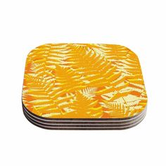 Kess InHouse Jacqueline Milton 'Fun Fern - Citrus' Gold Coasters