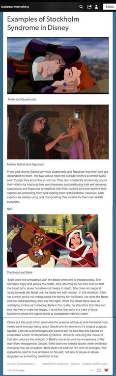 Disney has two examples of Stockholm Syndrome (in abusive parental figure/child relationships); Beauty and the Beast is not one of them.