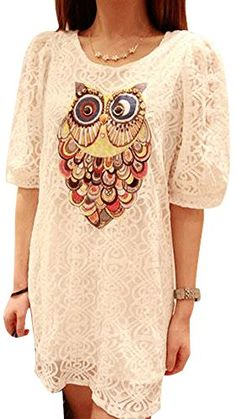 VonFon Women Owl Knit Half Sleeve Lace Loose Blouse Dress