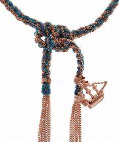 Blue silk and rose gold Liberty ship bracelet from the Carolina Bucci collection.