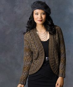 """Ravelry: Midnight Shrug pattern by Alice Tang, Free Pattern Aran (8 wpi) ? 12 stitches and 20 rows = 4 inches in lace pattern Needle size US 9 - 5.5 mm Yardage 600 - 900 yards (549 - 823 m) Sizes available 40 (44, 50, 54, 58)"""" finished bust"""