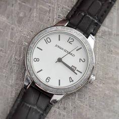 Meteorite Wrist Watch, Polished Metal Watch With Alligator Grain Leather Strap-JE1007-4