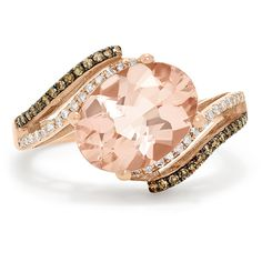 Effy Jewelry Effy Blush 14K Rose Gold Morganite and Diamond Ring, 3.15... ($1,645) ❤ liked on Polyvore featuring jewelry, rings, red gold jewelry, pink gold diamond rings, diamond jewellery, rose gold jewellery and 14 karat gold jewelry