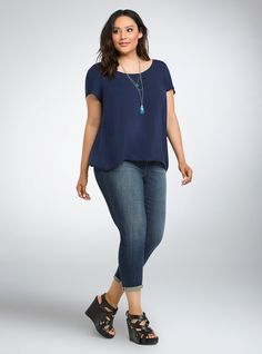 Plus Size Embroidered Back Challis Top, PEACOAT