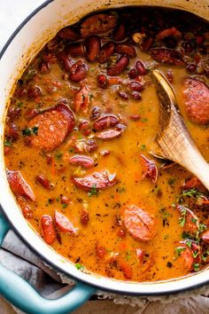 Tender red beans and spicy Andouille sausage are cooked into a full-bodied dish that's heavy on aromatics and authentic flavor. It's that classic Southern comfort food, Louisiana Red Beans and Rice! Healthy Rice Recipes, Cajun Recipes, Bean Recipes, Sausage Recipes, Cooking Recipes, Healthy Southern Recipes, Southern Meals, Cajun Cooking, Southern Dishes
