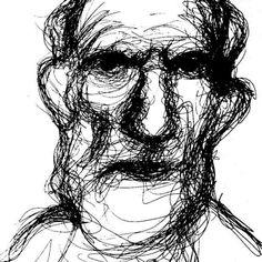 """Old man"", 2016. Ink on paper.  #lineart #linedrawing #oneline #minimal #figure #man #oldage #contemporaryart #modernart #figurativeart"