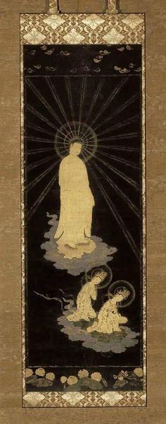 Descent of the Amida trinity, Kamakura period, 1185-1333, early 14th century, Japan