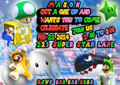 "Super 3D World Mario Invitation - Mario Birthday Invitation - ""MARIO INVITATION"" ""SUPER""- 3D Printable Mario Invitations - Birthday Party"