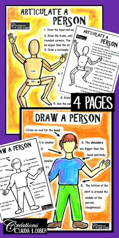 Here is the second workshop in a series that will be created throughout the year. With these two sheets, your students will learn how to draw a person correctly as well as adding articulations for movement. This is to be used as enrichment or to complete a project that requests the drawing of a person.  It is interesting to use the coloured sheets, because the students will have a visual for their next drawing.