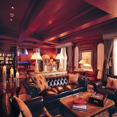 The original man cave, a cigar room. Dark wood, dark leather, and maybe sound proofing. Lol