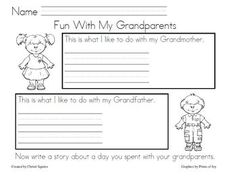 A simple writing prompt for students to write about what they like to do with their Grandparents. FREE