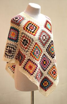 Lovely hand crocheted multicolor poncho for teen girls or women  - Beautiful colors combination: red, yellow, orange, light blue and more on white