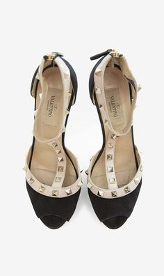 Valentino Black And Nude Peeptoe