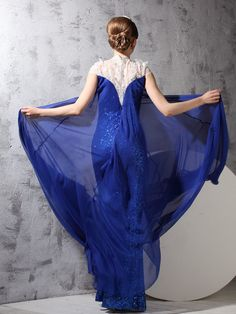 Sheath/Column Lace Capped Royal Blue Chiffon Prom/Evening Dress PD536
