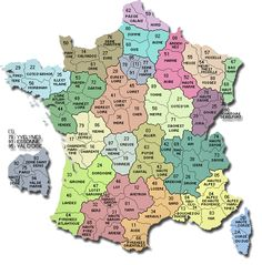 """""""Départements"""" of France (districts in the region)"""