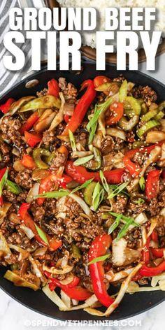 Ground Beef Stir Fry, Healthy Ground Beef, Pork Stir Fry, Ground Beef Recipes Easy, Ground Beef Filipino Recipe, Korean Ground Beef, Meat Recipes, Asian Recipes, Cooking Recipes
