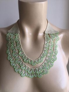 Beaded crochet necklace-apple green necklace – wedding necklace-light green – Nezahat – Join in the world of pin Fabric Jewelry, Beaded Jewelry, Jewelry Necklaces, Handmade Jewelry, Beaded Necklace, Bead Crochet, Crochet Necklace, Collar Verde, Bead Jewelry