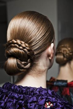 Gorgeous braided bun hairstyle from the Vionnet runway
