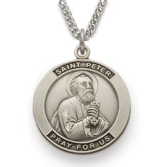 St. Peter, Patron of Butchers, Sterling Silver Medal http://www.truefaithjewelry.com/sm8217sh.html