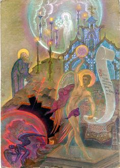 Depictions of the Apocalypse, St. John the Divine, the Harlot of Babylon and Czarist crown of thorns by  Andrey Avinoff ☩