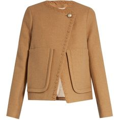 See By Chloé Patch-pocket wool-blend coat (34,120 PHP) ❤ liked on Polyvore featuring outerwear, coats, see by chloé, beige coat, oversized coat, see by chloe coat and wool-blend coat