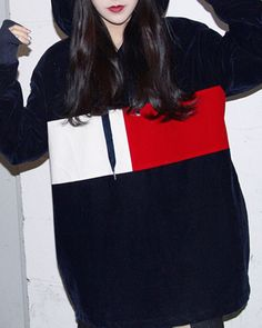 Colour Block Velvet Hoodie boogzel apparel navy blue velvet hoodie color block boogzel apparel
