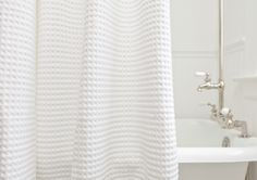 cotton waffle weave shower curtain from the turkish towel company - Modern Upstairs Bathrooms, Downstairs Bathroom, Bathroom Shower Curtains, Shower Curtain White, Pottery Barn Shower Curtain, Barn Bathroom, Shower Towel, Farmhouse Bathroom Accessories, Turkish Towels