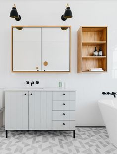 Modern grey and wood bathroom design with texture, patterns and warmth