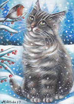 Gray Tabby Cat Kitten Robin Bird Winter Snow Original 5x7 Art Painting by MARTA #Realism