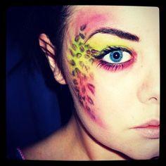 Green and pink leopard print makeup